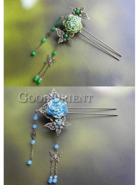 Blue and Green Butterfly and Peony Hair Pin
