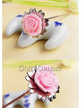 Flower Pink China Style Hair Pin