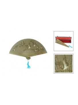 Chinese Handcraft Aloeswood Fan---Crane