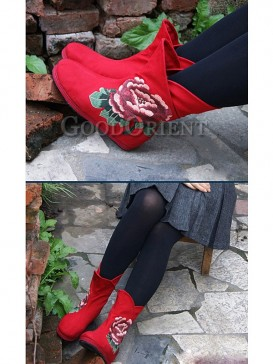Black and Red Embroidery Ethnic boots