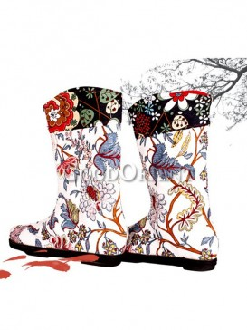 White Embroidery Ethnic boots