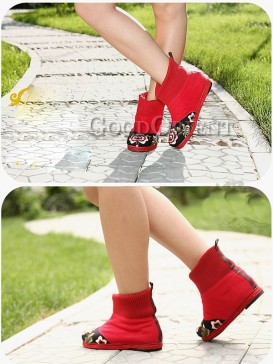 Red Embroidery Ethnic Boots