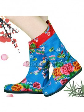 Blue Embroidery Ethnic Boots