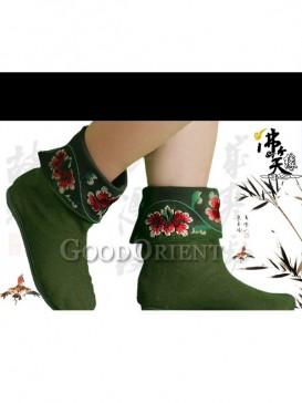 Green Embroidery Ethnic boots