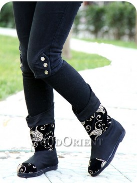 Black with Red Embroidery Ethnic Boots