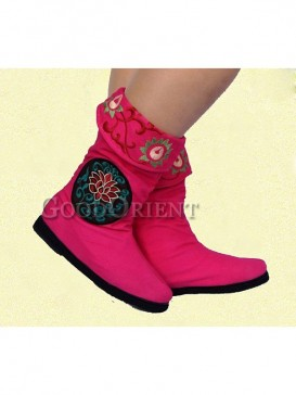 Embroidery Ethnic Boots with Rose design