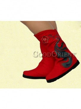 Red and Black Ethnic Embroidery Boots