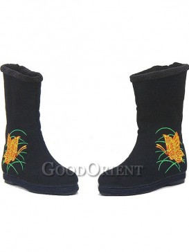 Black Embroidery Ethnic Boots