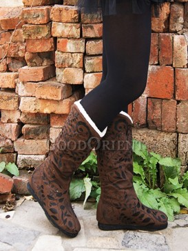 Coffee and Red colored Ethnic boots