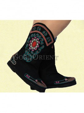 Unique Black Ethnic Embroidery boots