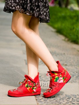 Red with Black Handcrafted Ethnic boots
