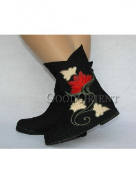 Black Cotton Ethnic Boots