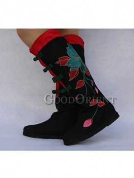 Black and Red Cotton Ethnic Boots