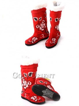 Crimson Red Cotton Ethnic Boots