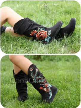 Phoenix & Peony Embroidery Boots