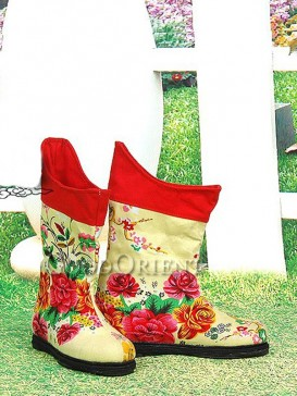 Yellow Embroidery Ethnic boots