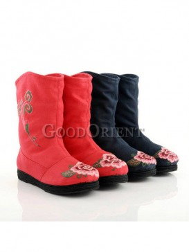 Red with Blue Ethnic Embroidery boots