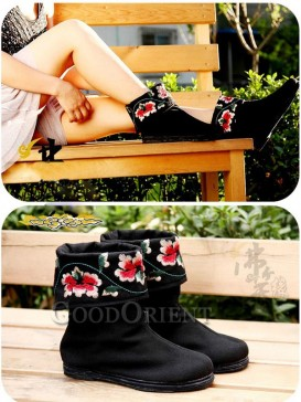 Elegance Black Embroidery Boots