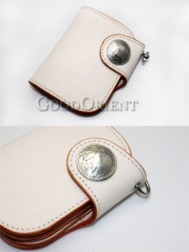 Black/White Handcrafted Leather Men's Wallet