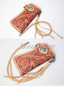 Flower Carving Handcrafted Leather Men's Wallet