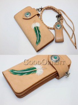 Feather Print Handcrafted Leather Men's Wallet
