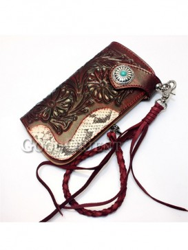 Python Red wind leather of men's wallet