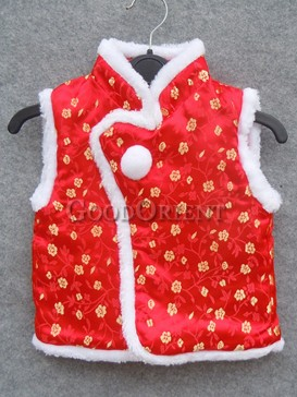 Red Flower Brocade Cotton-Padded Waistcoat