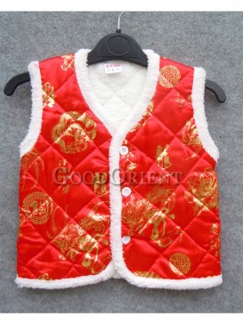 Red Dragon Brocade Cotton-Padded Waistcoat