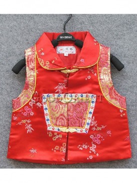 Red Brocade with Golden and Red Embroidery Waistcoat