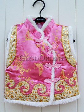 Pink Butterfly Brocade Cotton-Padded Waistcoat