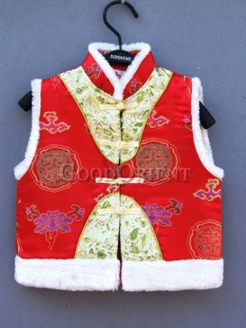Red Auspcious Clouds & Dragon Brocade Waistcoat