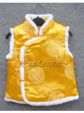 Yellow Blessed Pattern Brocade Cotton-Padded  Waistcoat
