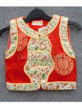 Red Blessed Pattern Brocade Cotton-Padded Waistcoat