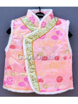 Pink Flower Brocade Cotton-Padded Waistcoat