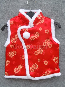 Red Rose Brocade Cotton-Padded Waistcoat