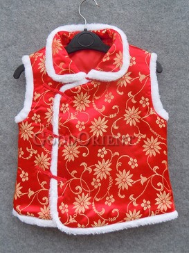 Red Orchid Brocade Cotton-Padded Waistcoat