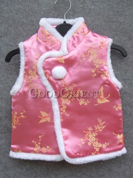 Pink Butterfly & Flower Brocade Cotton-Padded Waistcoat
