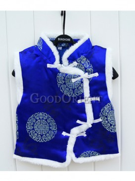Cobalt Blue Blessed Pattern Brocade Cotton-Padded Waistcoat