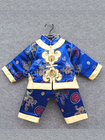 Royal Blue Brocade Blessing Fu Chinese Suit