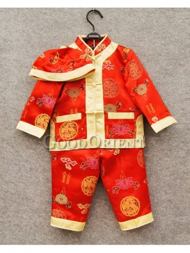 Red Brocade Clothe suit with Chinese frog button