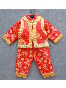 Red dragon brocade suit with Chinese frog button