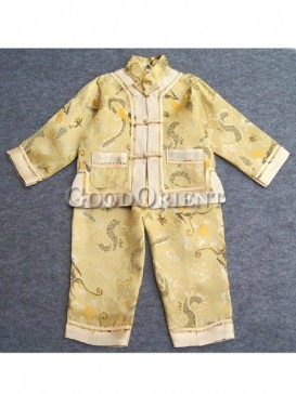 Yellow Brocade Dragon Embroidery Chinese Suit