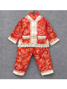 Red brocade suit with dragon design