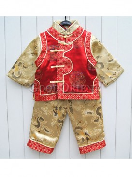 Red with yellow brocade clothe with dragon design