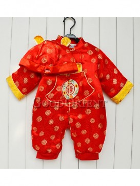 Red Blessed Pattern Brocade Clothes for Baby