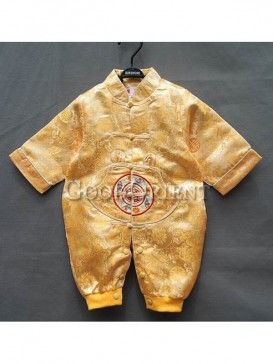 Yellow Flower Brocade Cotton-Padded Clothes for Baby