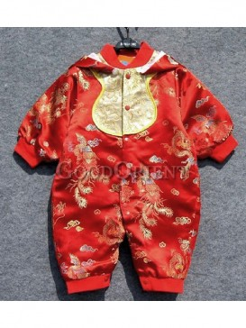 Red Phoenix Brocade Clothes for Baby