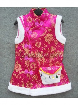Rose red Clothe with frog Chinese button for girls