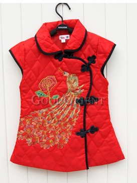 Red Chinese Clothe with phoenix embroidery