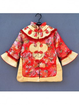 Red Brocade Chinese clothe for girls
